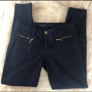 Michael Kors Navy Blue Skinny Pants with Zippers 4